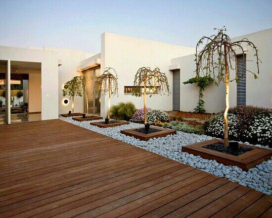 Moderne Landschaftsgestaltung, Kleine Vorgärten, Moderner Hinterhof, Ideen,  Terrasse, Haus, Landschaftsbau, Sonnenaufgang, Dekoration