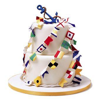 Nautical Groom's Cake with Anchor | Wedding Cake