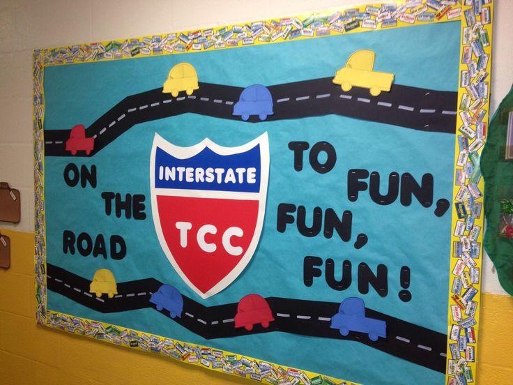 Preschool Summer Camp Road Trip Bulletin Board- On the way to fun, fun, fun
