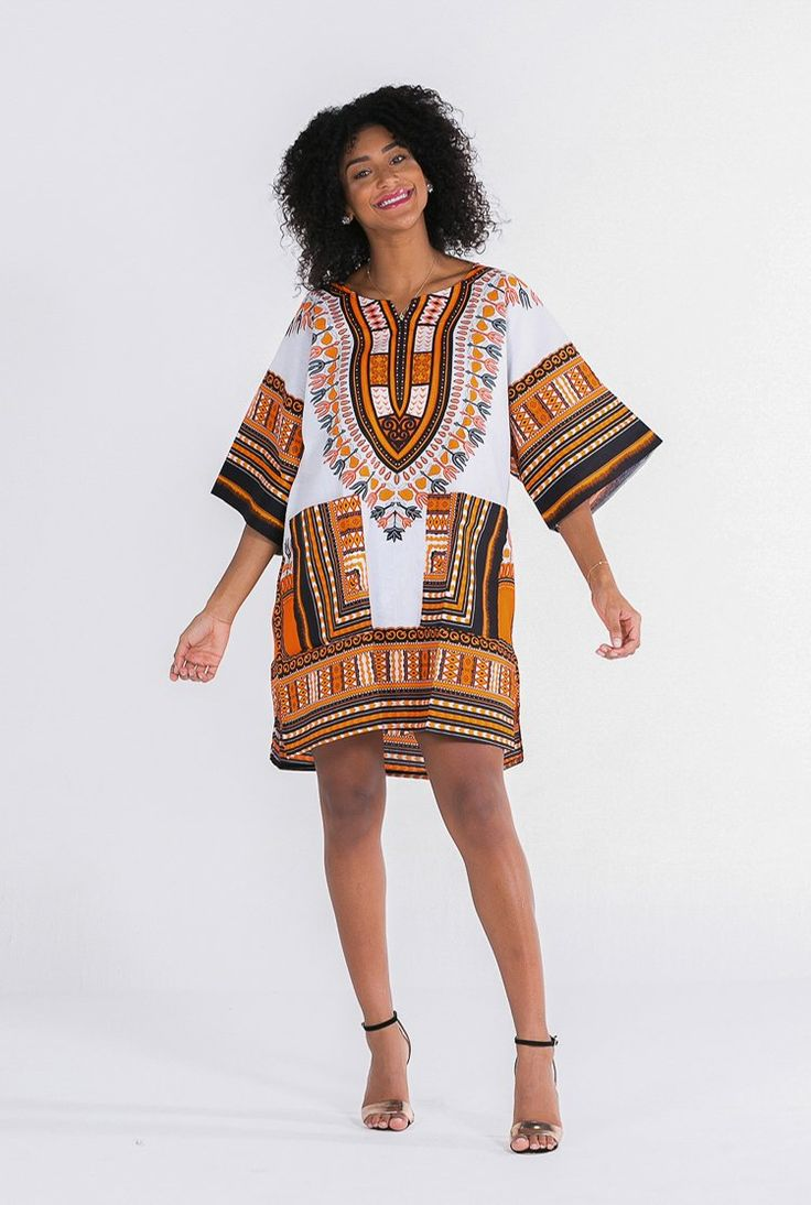 Women's African Dashiki Shirt White & Orange