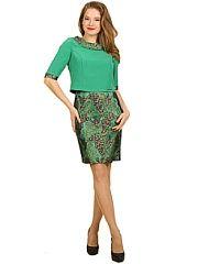 Платье Lamiavita  Модное платье - имитация костюма. Коротенький жакет выполнен из легкой костюмной ткани юбка из гипюра на атласной основе. Круглый отложной воротник и манжеты придают законченность образу. Для удобства движения юбка со шлицей. Жакет соединен с юбкой трикотажной маечкой. Юбка без подкладки. Платье очень нарядное и отлично подойдет для различных праздничных мероприятий и вечеринок.. Платье Lamiavita промокоды купоны акции.