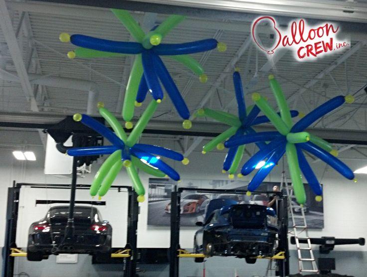 Porsche Dealership Bar Mitzvah. #balloondecor #balloonideas #balloons #ceilingdecor #partydecor #646's #partydots #porsche
