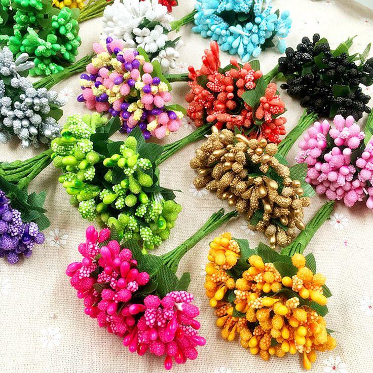 12 UNIDS/simulación flores artificiales flores artificiales/flores de bolas de cristal corona/fresa frutas ramo, decoración de la boda