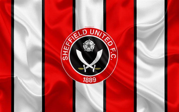 Download wallpapers Sheffield United FC, silk flag, emblem, logo, 4k, Sheffield, South Yorkshire, UK, English football club, Football League Championship, Second League, football