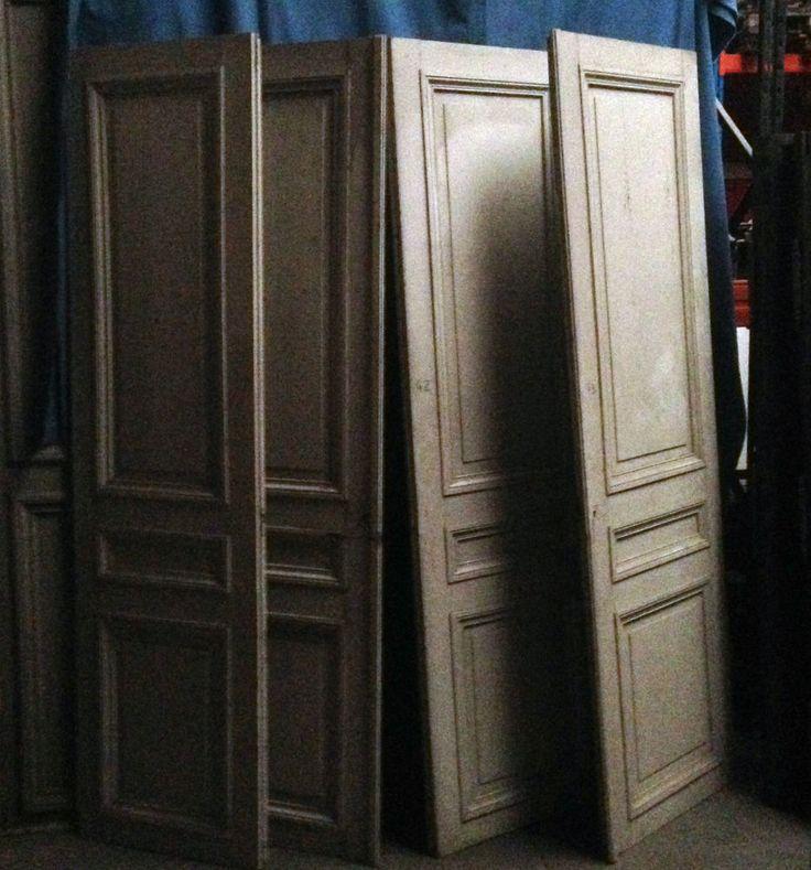 suite de deux placard double portes encadrements en sapin massif xix si cle antiquites. Black Bedroom Furniture Sets. Home Design Ideas