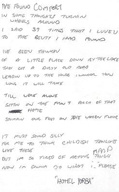 Jack White's handwritten lyrics for Hotel Yorba