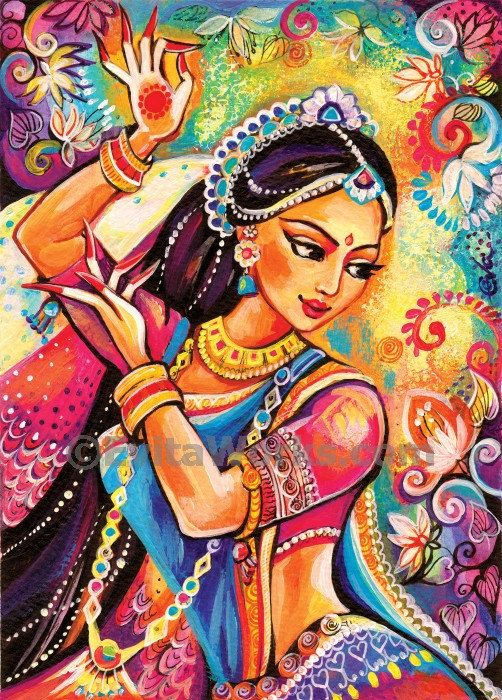 beautiful indian woman paintingindian decorfeminine by EvitaWorks