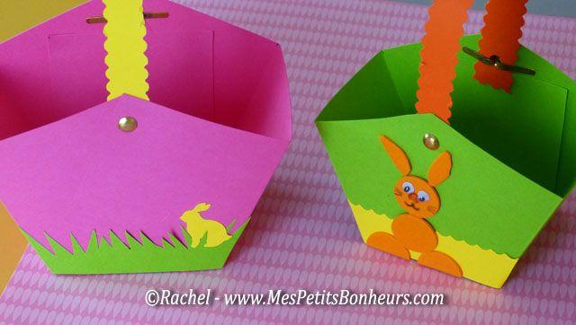 Paniers de Pâques en papier décoré.