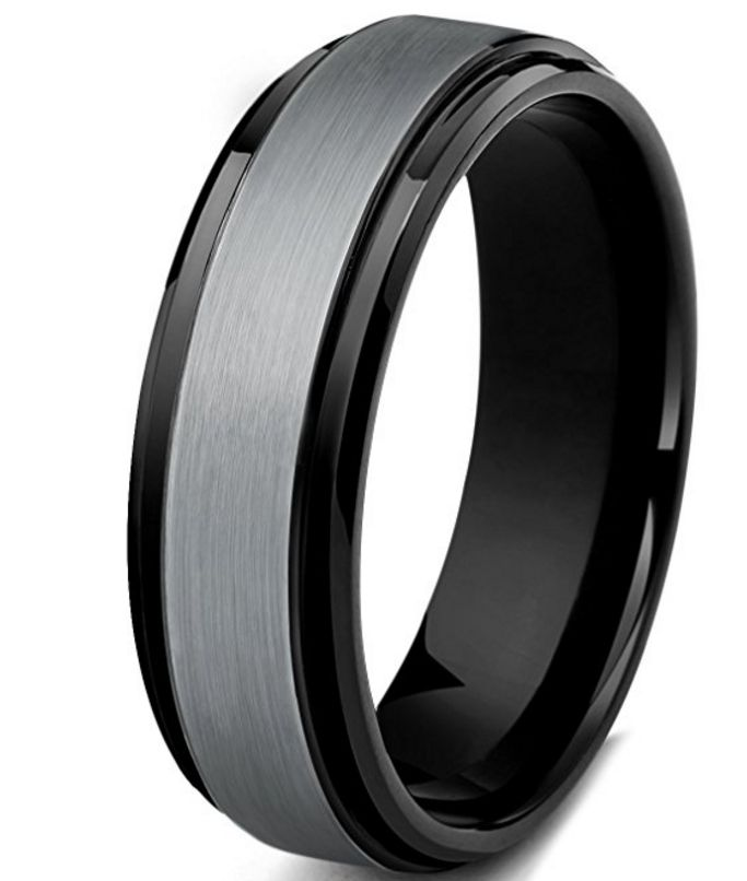 8mm Tungsten Carbide Rings Wedding Engagement Band Beveled Polished Brushed [6mm, 8mm]
