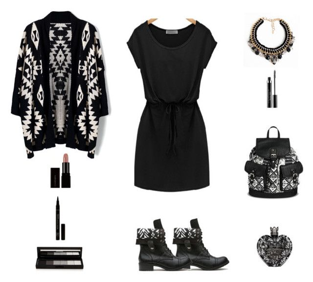 """Contest: Black & White Aztec Outfit"" by billsacred ❤ liked on Polyvore featuring Chicwish, Under One Sky, Vera Wang, shu uemura and Loli Bijoux"