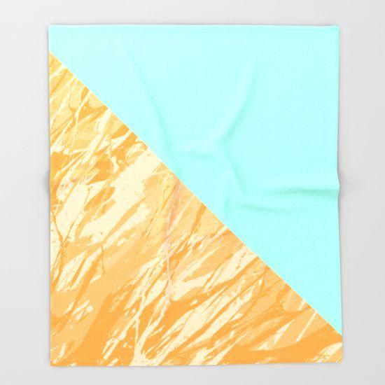 Orange Marble throw blanket by textart