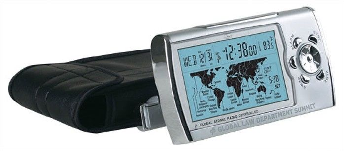 World Sync Time Zone Map Atomic Clock in Silver