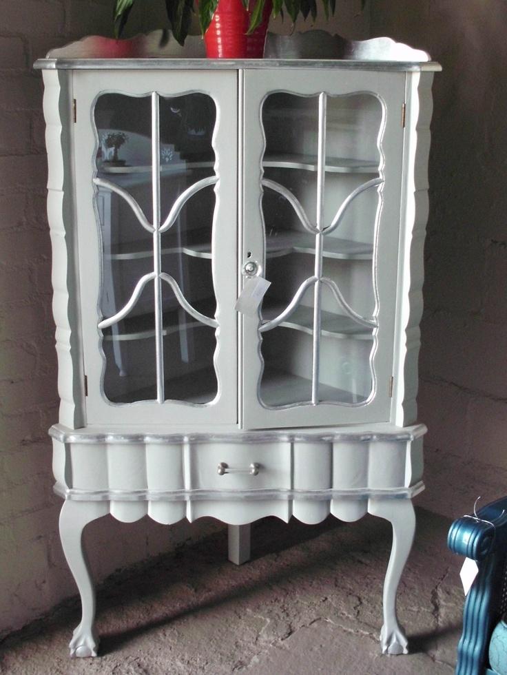 Grey Corner Unit With Silver Detail Imbuia Furniture