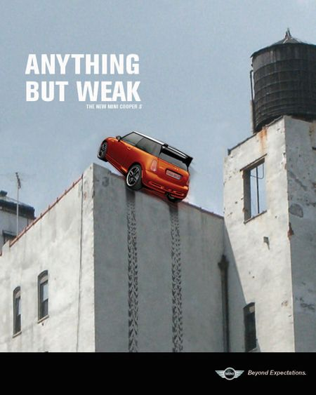 """This is an ad campaign of Mini Cooper S reinforcing the idea of """"small but powerful"""". It is printed by Taulant Bushi."""