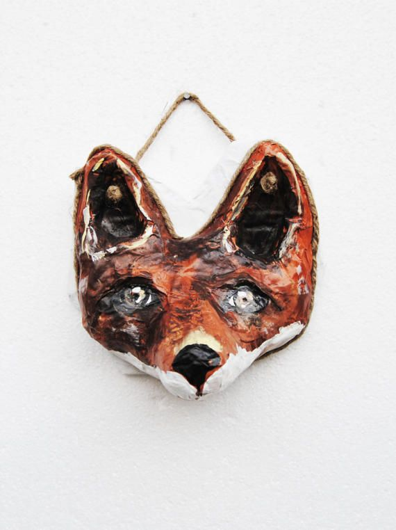 Fox faux trophy sculpture, Fox head wall mount, faux taxidermy, paper mache head, Kids room animal wall decor, Fox lover gift,boho fox decor
