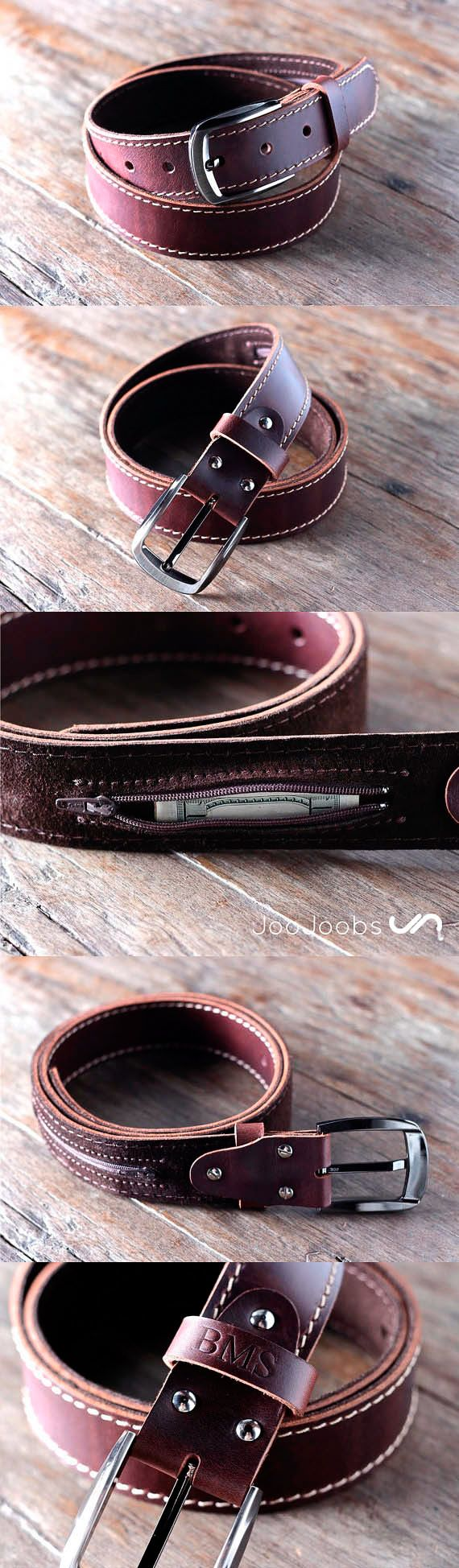 Handmade Mens Leather Belt by JooJoobs This belt has a secret, hidden pocket sewn into the inside lining. The belt is handmade and will last a lifetime. #rugged #rustic #handmade