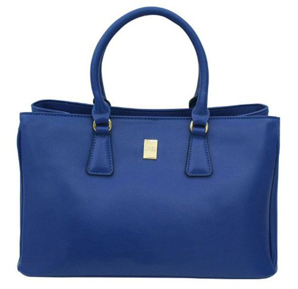 Blue Cowhide Leather Italian Bags for women's
