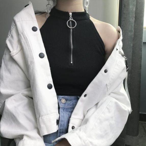 pull ring zipper, tank top, black shirt, white denim, jean jacket, denim
