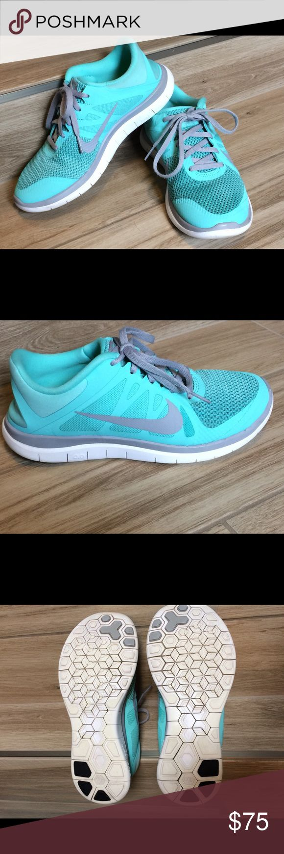 Women's NIKE Free Run 4.0 Tiffany blue NIKE free run 4.0, size 7.5.  Great used condition and a lot of life left.  Retired color and style! Nike Shoes Athletic Shoes