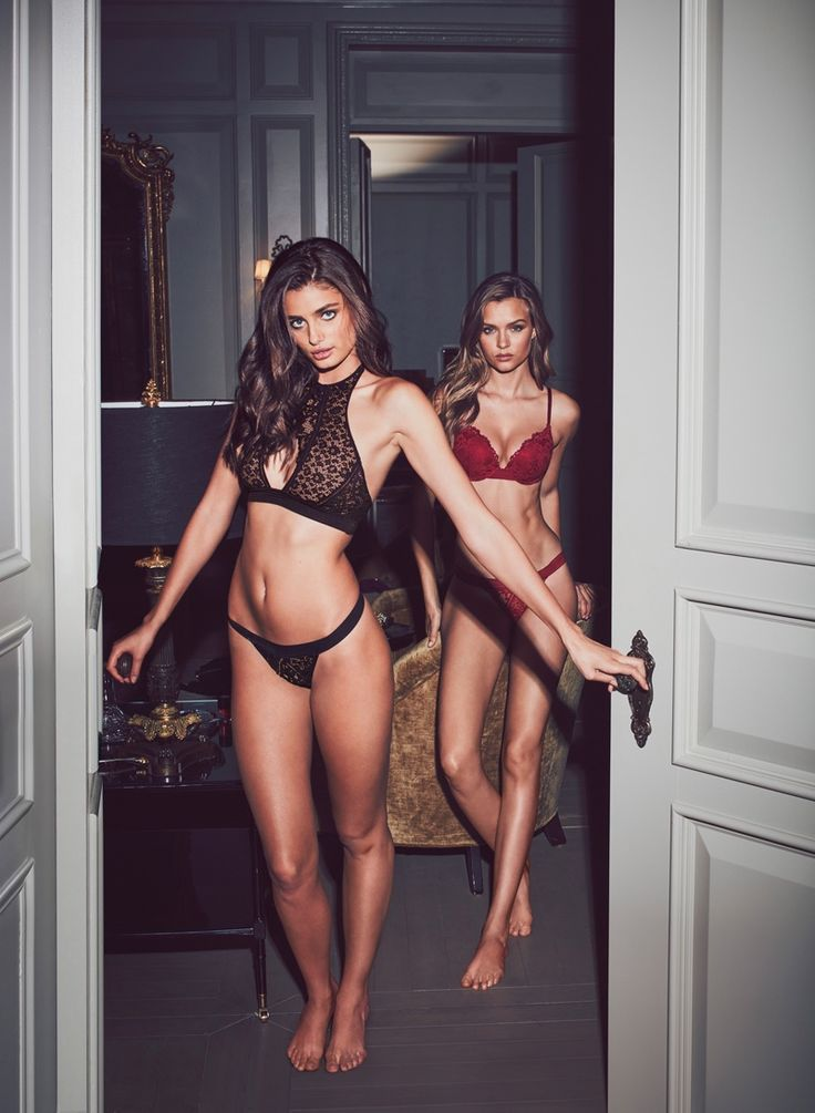 Taylor Hill and Josephine Skriver pose in Very Sexy Push-Up & Keyhole High-Neck Bras Sexy Little Things 2016 lookbook