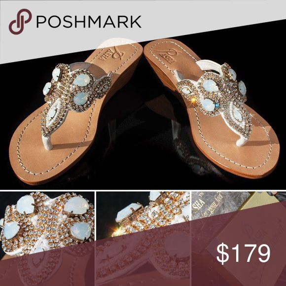 Gorgeous Jewelry Shoes NAZCA Jeweled with Real top quality Bohemian Swarovski style crystals from European Company called Preciosa and Mother of Pearl and Coral from Indian Ocean, own hired divers and own cutters. Only highest grade natural leather. Each pair is created by master shoemakers by hand that takes somewhere around 8 to 12 hours of work Fantastic golden gift box (collapsible) with metal corners and real organza sack.  PLEASE ORDER ONE SIZE UP, ESPECIALLY FROM US WOMEN'S 7 PASHA…