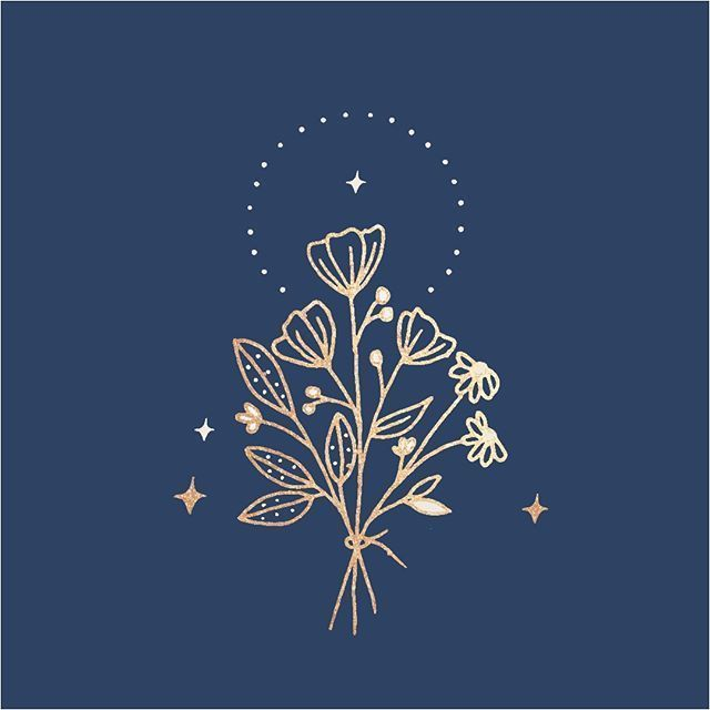 The starting point of a branding project, this wasn't the final concept, but I love how it turned out!   hand drawn branding   logo design   feminine logo and branding   flower bouquet   gold foil details   esoteric   foil stamped   linework   botanical drawings   floral sketch   luxury branding