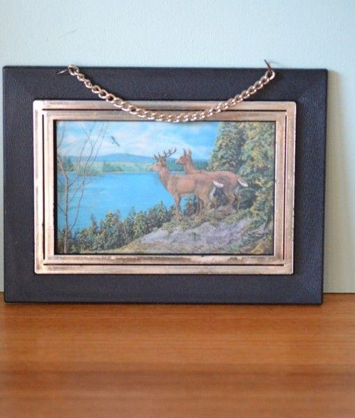 Vintage kitsch deer stag hologram wall hanging