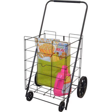 4-Wheel Jumbo Folding Shopping Cart, Black