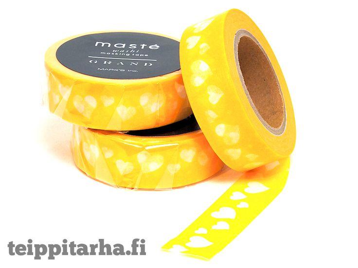 Sydämet (keltainen) washiteippi - 3,50 €