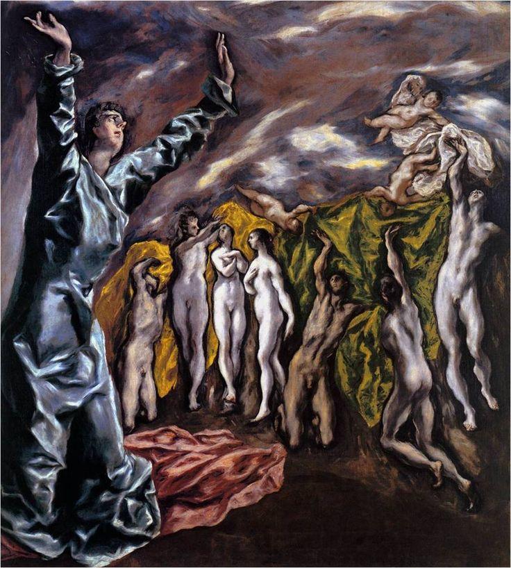 엘 그레코, 다섯 번째 봉인의 개봉, 1608~14, 메트로폴리탄 미술관. 최후의 심판이 벌어질 때 그 한장면을 그렸다. 기독교를 전파하다가 죽은 순교자들이 다시 살아나 옷을 받는 장면이다.