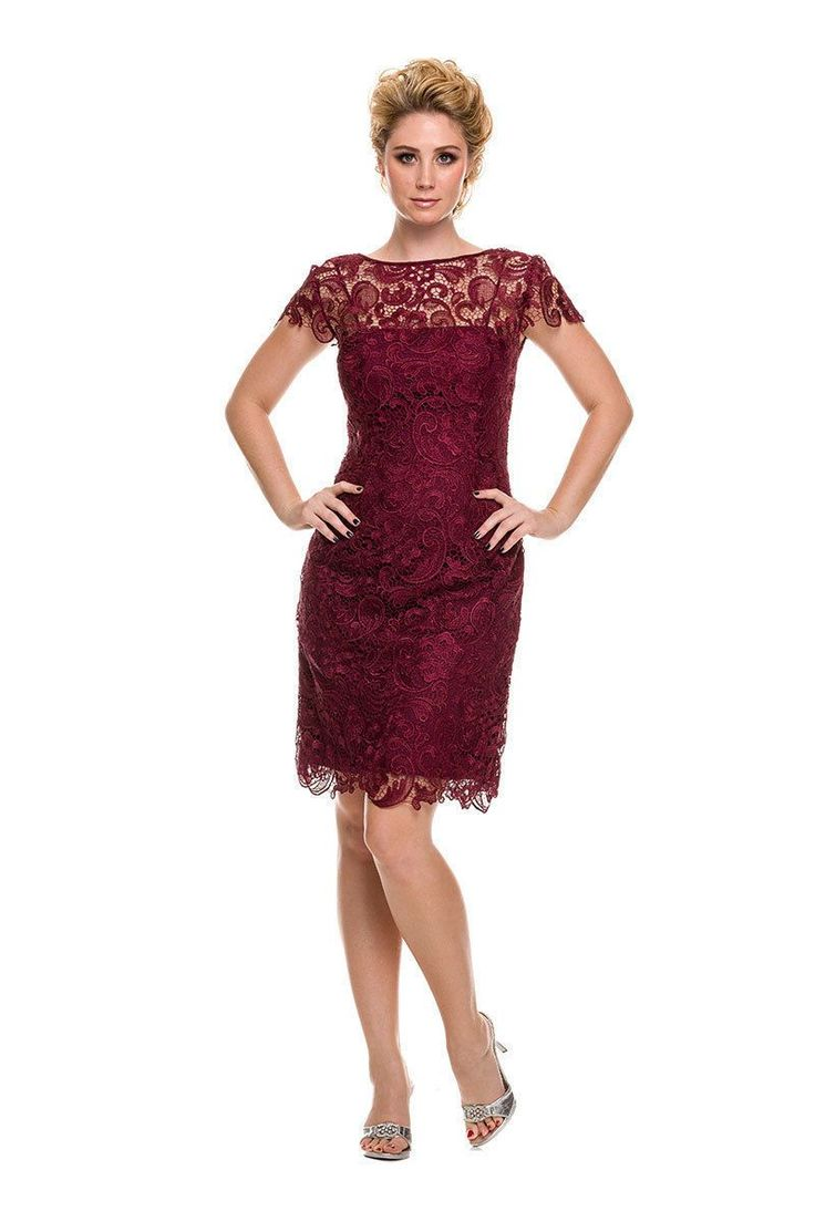 Vintage Lace Short Sleeve Formal Wedding Guest Evening Dress Plus Size