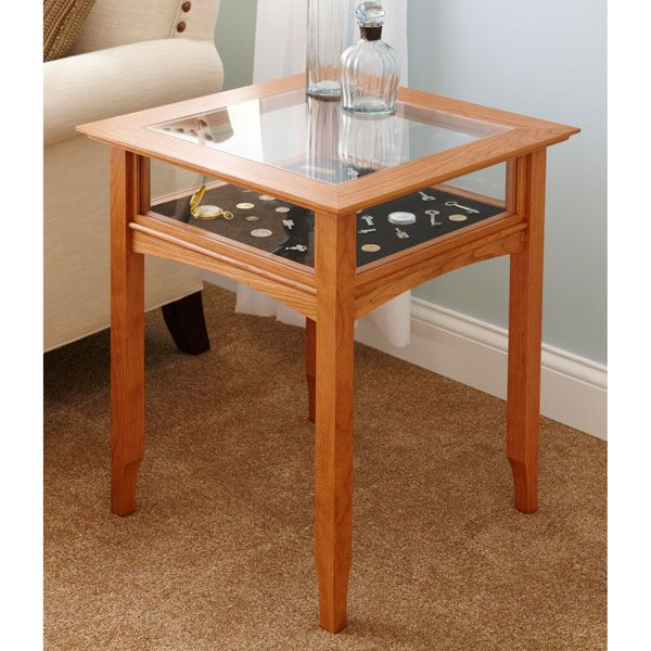 Glass top display table woodworking plan from wood for Md table design
