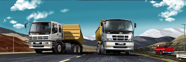 Camiones GM en paisaje Norte de Chile - Ilustración en Photoshop