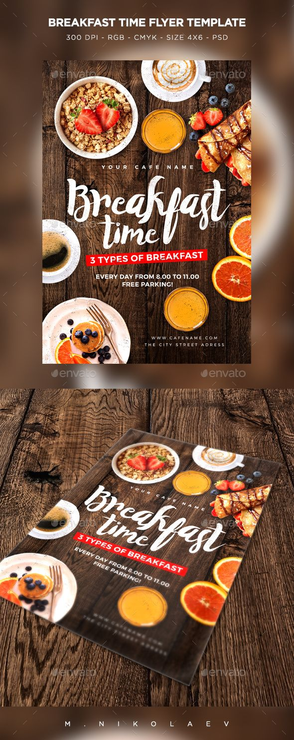 Breakfast Time Flyer  #photoshop #psd #4x6 #breakfast menu • Download ➝ https://graphicriver.net/item/breakfast-time-flyer/18754286?ref=pxcr
