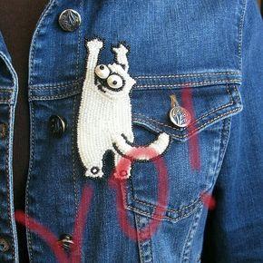 #pin #значок #брошь #брошьизбисера #beadsbrooch #beadwork #котсаймона #cat #style #emroidery #embroderywork #embroiderybrooch #чтоподарить #подарок #шутка #handmade #handcraftedjewelry #украшениеручнойработы #деним #накуртку #джинса #handmadjewelry #брошьмагнит #магнит #accessory #beadsaccessory