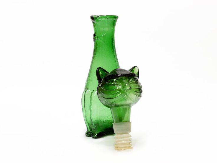 Vintage Italian Green Cat Decanter - mid century - emerald green glass by EllaOsix on Etsy