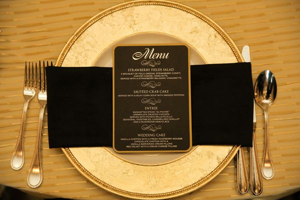 With gold and black accents, this menu is a divine form to commemorate the marriage of the newly weds!