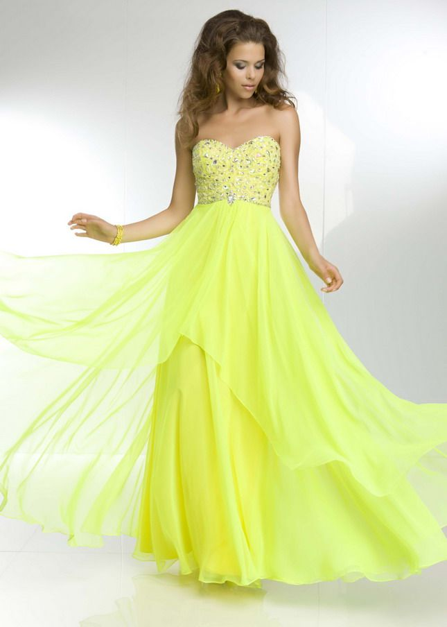 14 best Yellow Fashion images on Pinterest | Chiffon prom ...