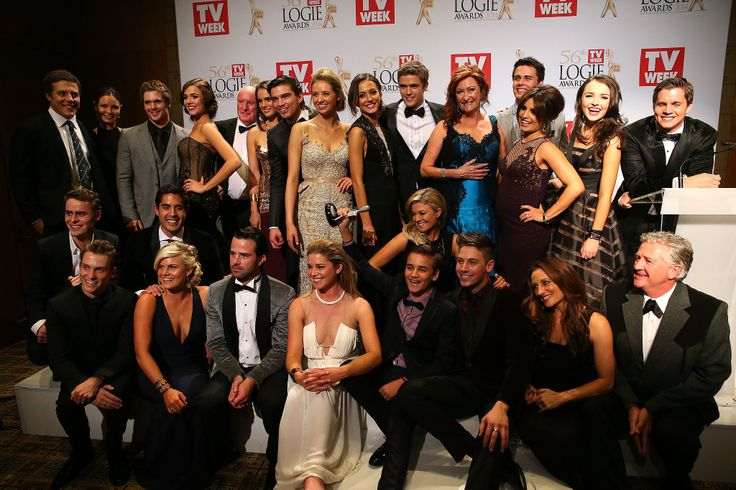 #c3370 The cast and crew of Home and Away in the winners room.