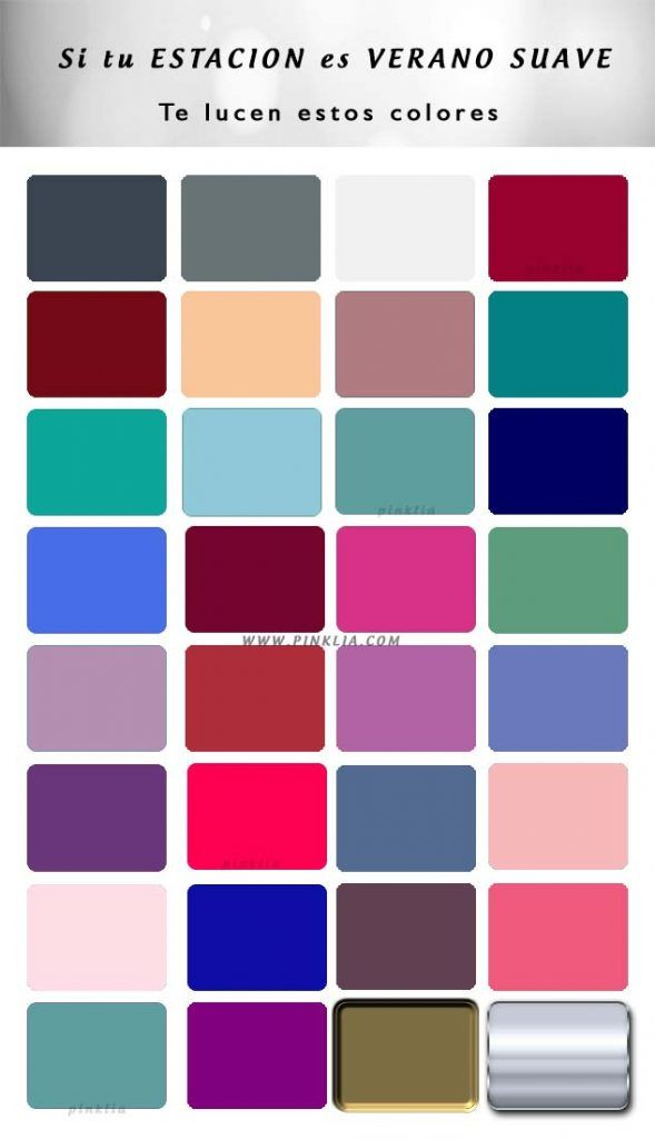 Colores para mujeres de estación Verano suave