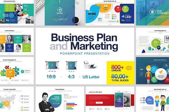 Business Plan & Marketing Powerpoint by PixWork on @creativemarket