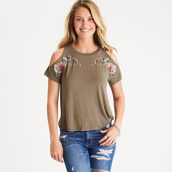 AE Soft & Sexy Cold Shoulder Embroidered T-Shirt ($30) ❤ liked on Polyvore featuring tops, t-shirts, green, white t shirt, sexy t shirts, green t shirt, cold shoulder tee and green top