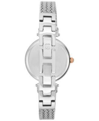 Anne Klein Women's Swarovski Crystal Accent Stainless Steel Mesh Bracelet Watch 30mm Ak-1907NVRT - Navy/Silver