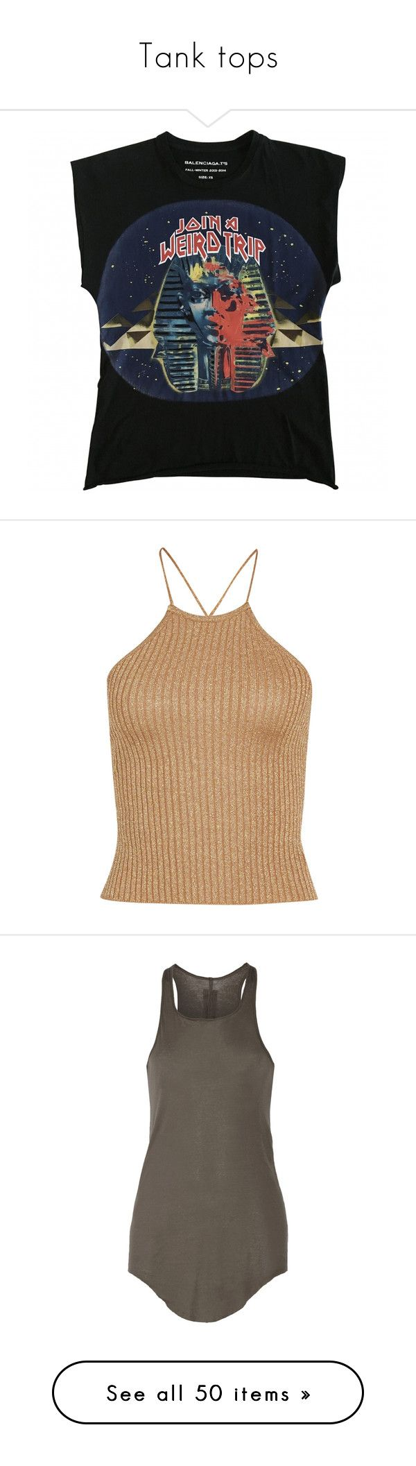 """""""Tank tops"""" by blvck-fashion ❤ liked on Polyvore featuring tops, t-shirts, shirts, tank tops, balenciaga t shirt, blue shirt, balenciaga tee, blue t shirt, cotton shirts and sparkly tank top"""