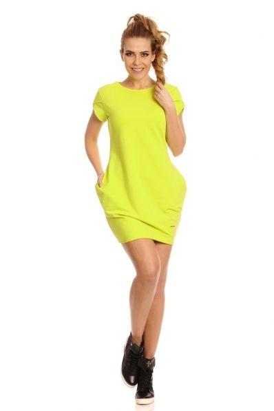 Letnia sukienka tunika z bawełny limonka COCO / sukienki / SUKIENKI / ODZIEŻ DAMSKA - Sukienki dresowe | Bluza szara damska | Sukienka dresowa