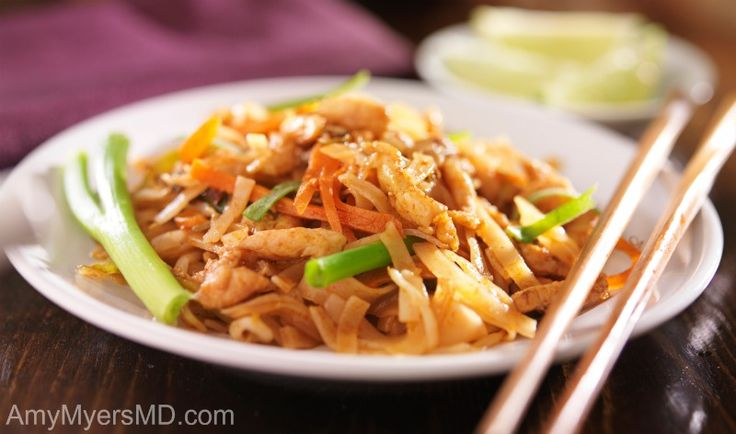 Chicken and Spaghetti Squash Pad Thai - A spin on one of the most popular Thai dishes, made with spaghetti squash and tons of veggies - Dr. Myers
