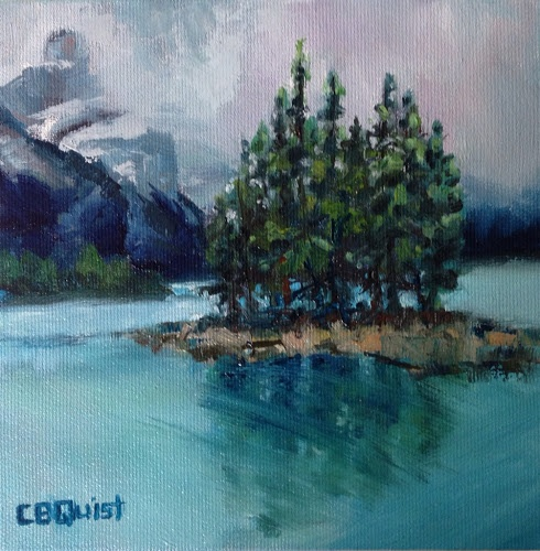 "Misty Spirit Island (Oil on canvass, 6""x6"")"