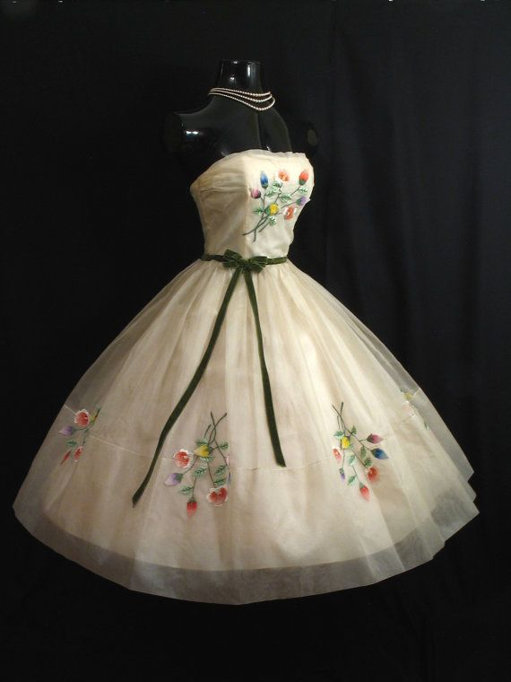 Vintage 1950's 50s Strapless Ivory Silk Embroidered Floral Applique Chiffon…
