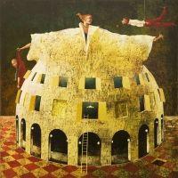 """A. Palazzini, """"C'è chi arriva, c'è chi parte"""",  2012, oil on canvas, cm 90 x 90"""