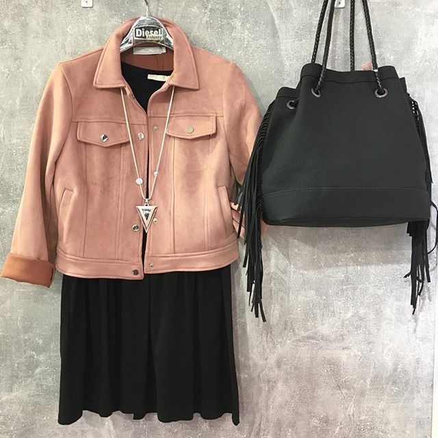 The softest little pink jacket !Available instore and online xx #suedettejacket #tasselbag #lotd